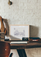 Load image into Gallery viewer, Main square sketch by Miguel Herranz.  Print with margin framed in natural wood
