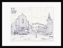 Load image into Gallery viewer, Main square sketch by Miguel Herranz. M Print with margin framed in black wood