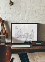 Load image into Gallery viewer, Main square sketch by Miguel Herranz.  Print with margin framed in black wood