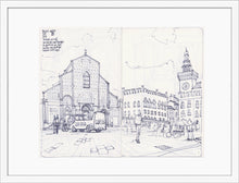 Load image into Gallery viewer, Main square sketch by Miguel Herranz. M Print with margin framed in white wood