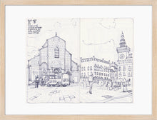 Load image into Gallery viewer, Main square sketch by Miguel Herranz. M Print with margin framed in natural wood