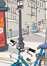 Load image into Gallery viewer, Ad post and padlocked bycicle illustration by Jorge Arranz.  Detail