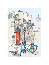 Load image into Gallery viewer, Ad post and padlocked bycicle illustration by Jorge Arranz. S Print with margin