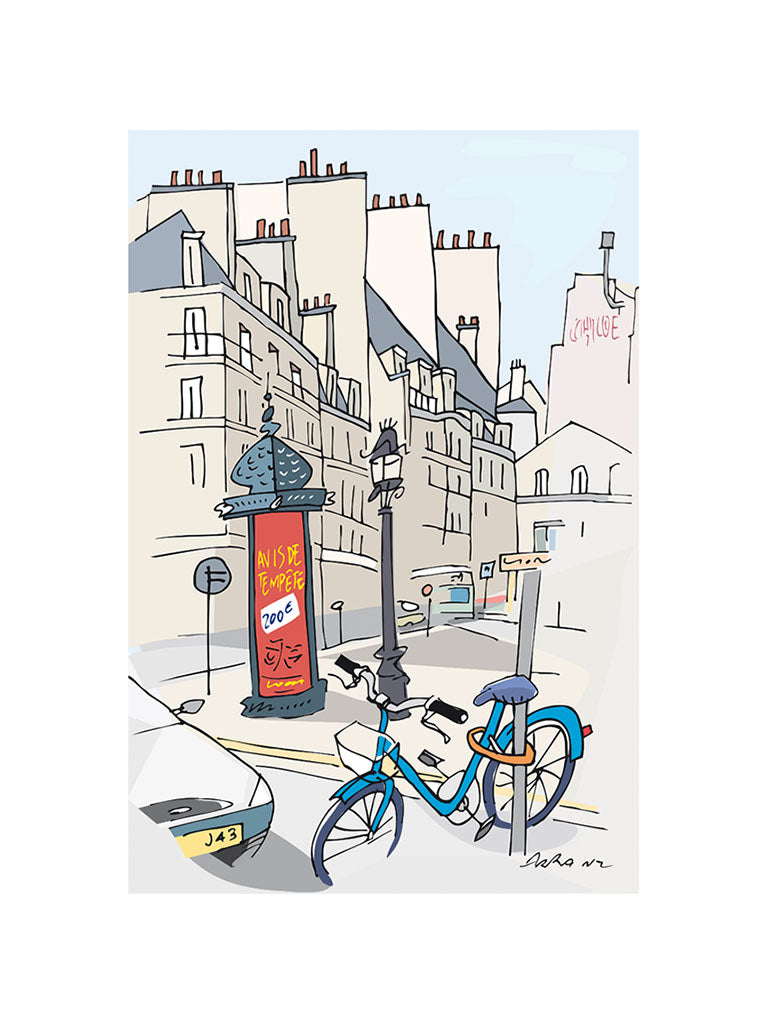 Ad post and padlocked bycicle illustration by Jorge Arranz. S Print with margin
