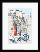 Load image into Gallery viewer, Ad post and padlocked bycicle illustration by Jorge Arranz. S Print with margin framed in black wood