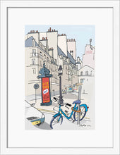 Load image into Gallery viewer, Ad post and padlocked bycicle illustration by Jorge Arranz. S Print with margin framed in white wood