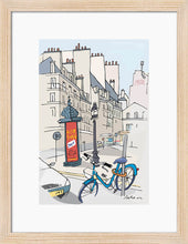 Load image into Gallery viewer, Ad post and padlocked bycicle illustration by Jorge Arranz. S Print with margin framed in natural wood