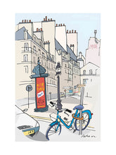 Load image into Gallery viewer, Ad post and padlocked bycicle illustration by Jorge Arranz. M Print with margin
