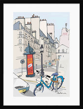 Load image into Gallery viewer, Ad post and padlocked bycicle illustration by Jorge Arranz. M Print with margin framed in black wood