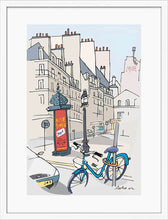 Load image into Gallery viewer, Ad post and padlocked bycicle illustration by Jorge Arranz. M Print with margin framed in white wood
