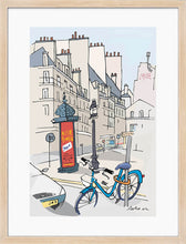 Load image into Gallery viewer, Ad post and padlocked bycicle illustration by Jorge Arranz. M Print with margin framed in natural wood