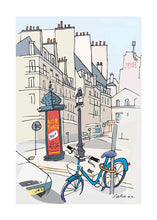 Load image into Gallery viewer, Ad post and padlocked bycicle illustration by Jorge Arranz. L Print with margin