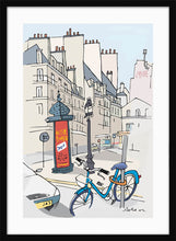Load image into Gallery viewer, Ad post and padlocked bycicle illustration by Jorge Arranz. L Print with margin framed in black wood