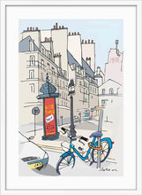 Load image into Gallery viewer, Ad post and padlocked bycicle illustration by Jorge Arranz. L Print with margin framed in white wood