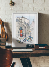 Load image into Gallery viewer, Ad post and padlocked bycicle illustration by Jorge Arranz.  Print with margin framed in white wood