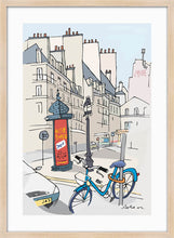 Load image into Gallery viewer, Ad post and padlocked bycicle illustration by Jorge Arranz. L Print with margin framed in natural wood