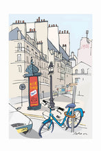 Load image into Gallery viewer, Ad post and padlocked bycicle illustration by Jorge Arranz. XL Print with margin