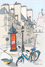 Load image into Gallery viewer, Ad post and padlocked bycicle illustration by Jorge Arranz. XL Print without margin