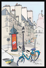 Load image into Gallery viewer, Ad post and padlocked bycicle illustration by Jorge Arranz. XL Print without margin framed in black wood