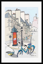 Load image into Gallery viewer, Ad post and padlocked bycicle illustration by Jorge Arranz. XL Print with margin framed in black wood