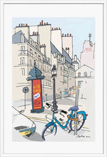 Load image into Gallery viewer, Ad post and padlocked bycicle illustration by Jorge Arranz. XL Print with margin framed in white wood