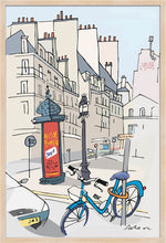 Load image into Gallery viewer, Ad post and padlocked bycicle illustration by Jorge Arranz. XL Print without margin framed in natural wood