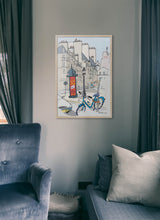 Load image into Gallery viewer, Ad post and padlocked bycicle illustration by Jorge Arranz.  Print without margin framed in natural wood