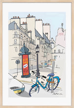 Load image into Gallery viewer, Ad post and padlocked bycicle illustration by Jorge Arranz. XL Print with margin framed in natural wood