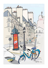 Load image into Gallery viewer, Ad post and padlocked bycicle illustration by Jorge Arranz. XXL Print with margin
