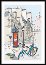Load image into Gallery viewer, Ad post and padlocked bycicle illustration by Jorge Arranz. XXL Print with margin framed in black wood