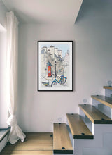 Load image into Gallery viewer, Ad post and padlocked bycicle illustration by Jorge Arranz.  Print with margin framed in black wood