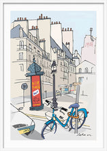 Load image into Gallery viewer, Ad post and padlocked bycicle illustration by Jorge Arranz. XXL Print with margin framed in white wood