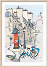 Load image into Gallery viewer, Ad post and padlocked bycicle illustration by Jorge Arranz. XXL Print with margin framed in natural wood