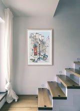 Load image into Gallery viewer, Ad post and padlocked bycicle illustration by Jorge Arranz.  Print with margin framed in natural wood