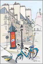 Load image into Gallery viewer, Ad post and padlocked bycicle illustration by Jorge Arranz. XXL Print on Dibond under Acrylic, framed in aluminium