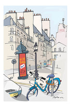 Load image into Gallery viewer, Ad post and padlocked bycicle illustration by Jorge Arranz. XXXL Print with margin