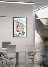 Load image into Gallery viewer, Ad post and padlocked bycicle illustration by Jorge Arranz.  Print on Dibond under Acrylic, framed in black wood