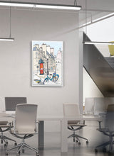 Load image into Gallery viewer, Ad post and padlocked bycicle illustration by Jorge Arranz.  Print on Dibond under Acrylic, framed in white wood