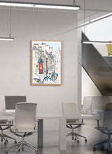 Load image into Gallery viewer, Ad post and padlocked bycicle illustration by Jorge Arranz.  Print on Dibond under Acrylic, framed in natural wood