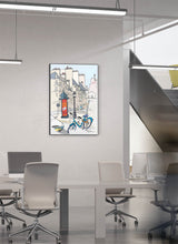 Load image into Gallery viewer, Ad post and padlocked bycicle illustration by Jorge Arranz.  Print on Dibond under Acrylic, framed in black aluminium