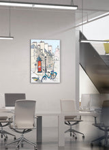 Load image into Gallery viewer, Ad post and padlocked bycicle illustration by Jorge Arranz.  Print on Dibond under Acrylic, framed in aluminium