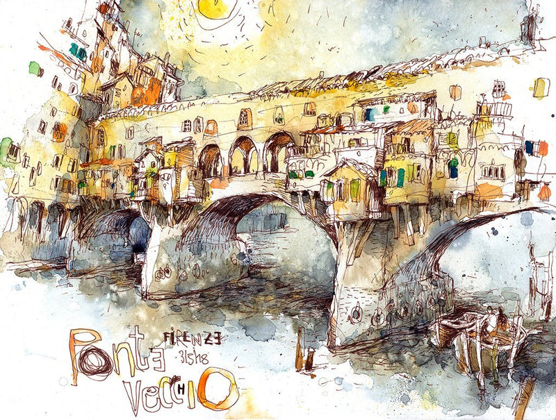 Italian houses bridge watercolor drawing by Felix Scheinberger.  Main image