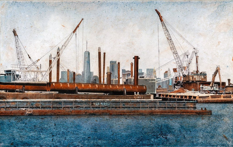 Painting of several cranes working in the port by Carlos Arriaga.  Main image