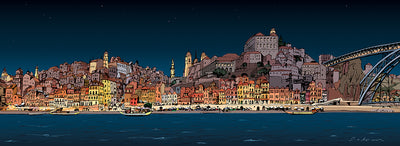 Illustration of the riverside of Porto at night by Jorge Arranz.  Main image
