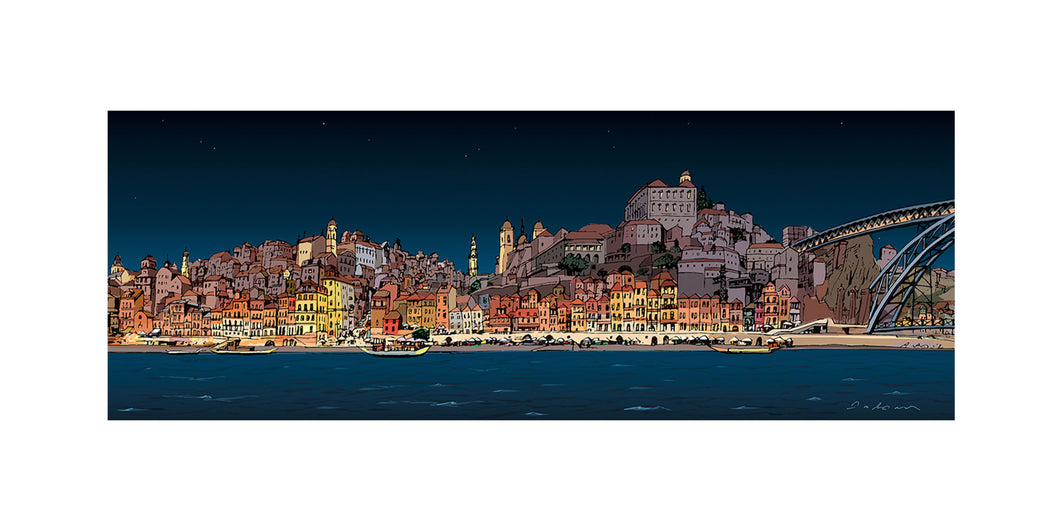 Illustration of the riverside of Porto at night