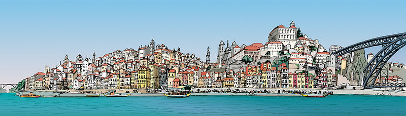 Illustration of the riverside of Porto by Jorge Arranz.  Main image