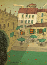 Load image into Gallery viewer, Church square atmposhere illustration by David Pintor.  Detail