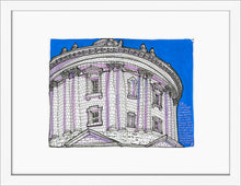 Load image into Gallery viewer, Dome bottom view drawing by Miguel Herranz. S Print with margin framed in white wood