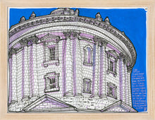 Load image into Gallery viewer, Dome bottom view drawing by Miguel Herranz. S Print without margin framed in natural wood