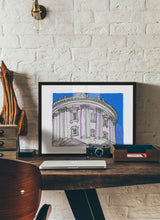 Load image into Gallery viewer, Dome bottom view drawing by Miguel Herranz.  Print with margin framed in black wood